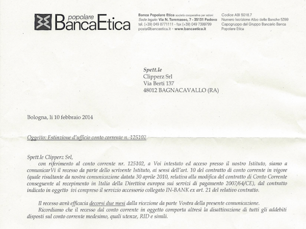 Termination letter from Banca Etica