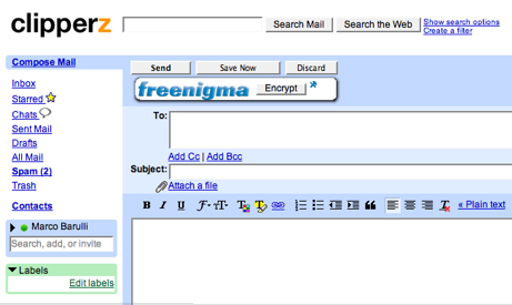 Freenigma, email encryption done right - Clipperz online